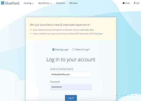 Bluehost login page