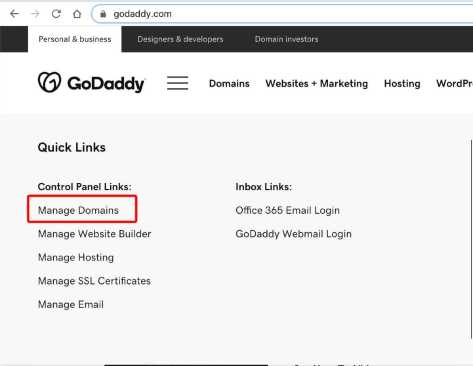 Click user account to locate Manage Domain option